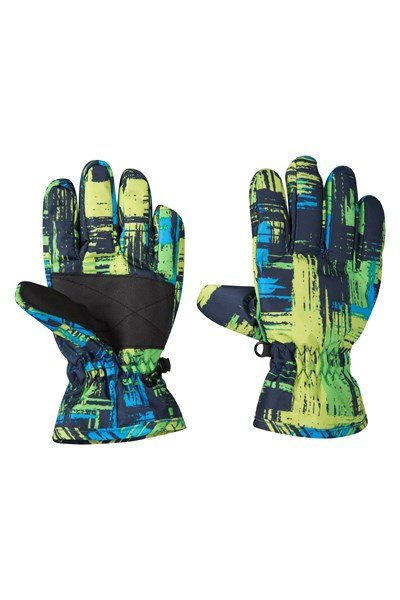 Printed Kids Ski Gloves - Teal