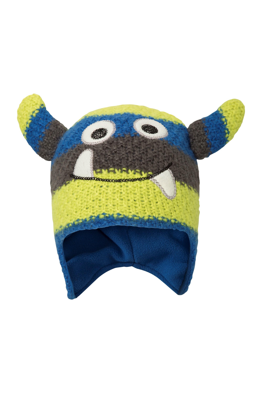 Monster Stripe Kids Hat - Blue