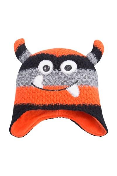 Monster Stripe Kids Hat - Orange