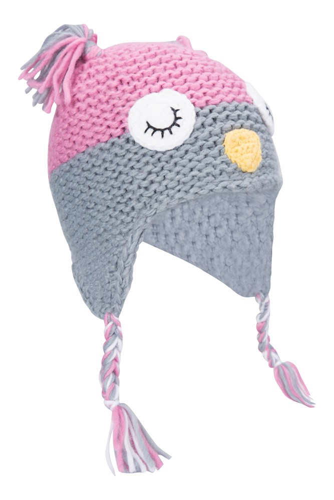 Owl Knitted Kids Hat - Pink