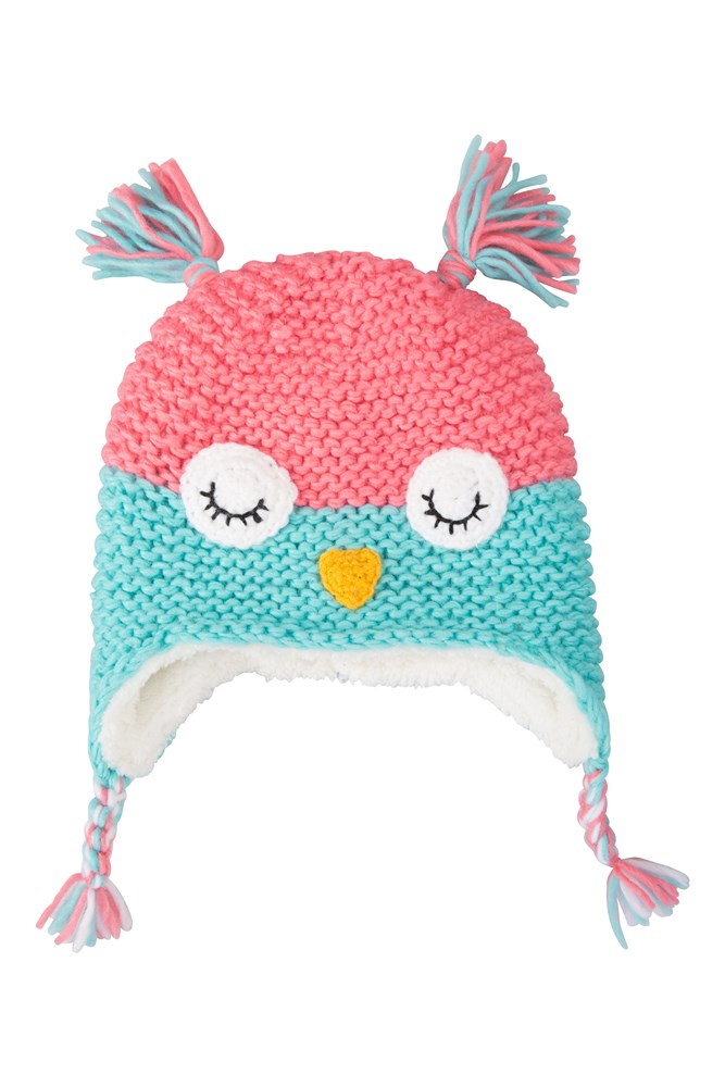 Owl Knitted Kids Hat - Teal