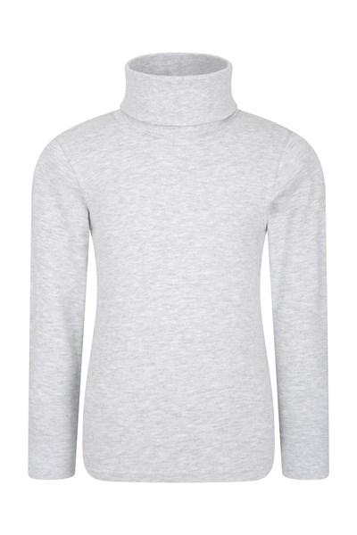 Meribel Kids Cotton Roll Neck Top - Grey