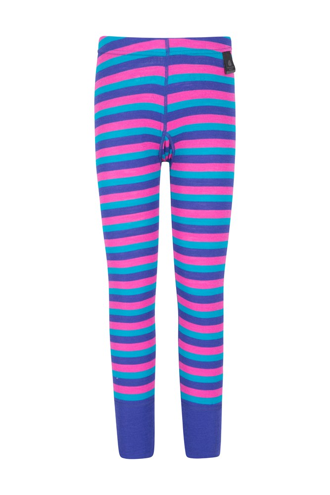Merino Kids Striped Pants - Pink