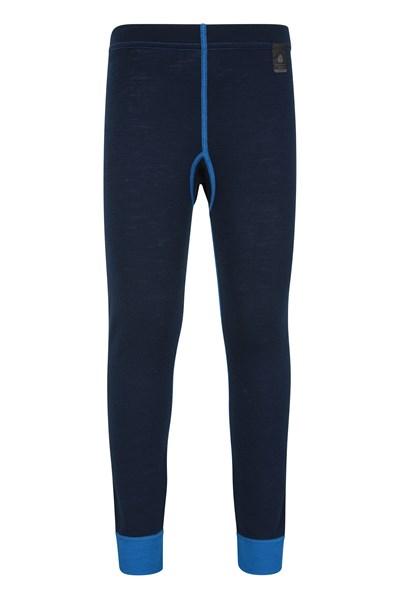 Merino Kids Base Layer Thermal Pants - Blue