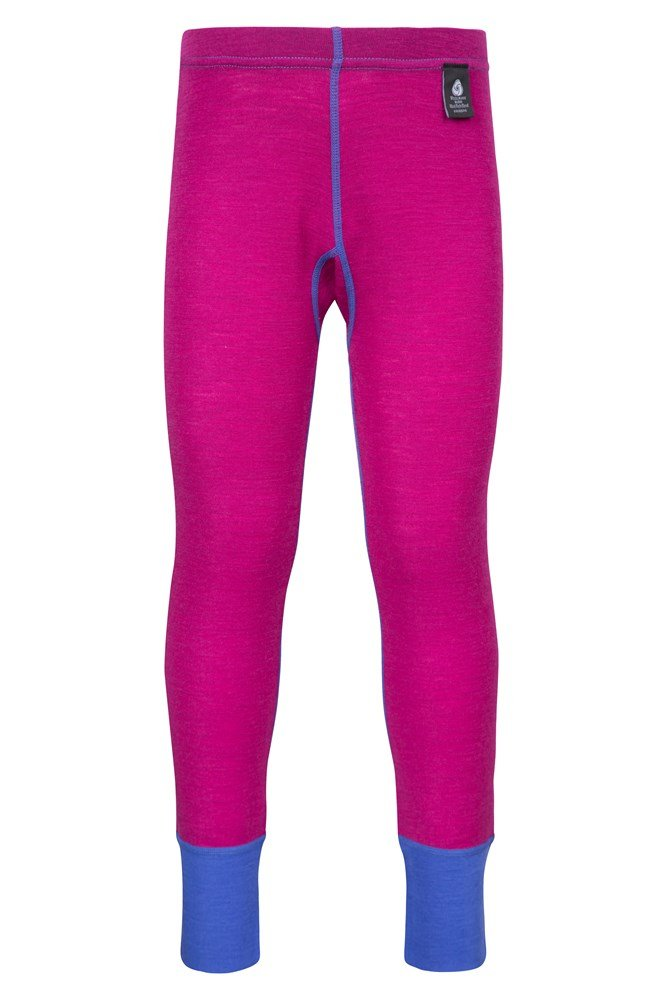 Merino Kids Base Layer Thermal Pants - Pink