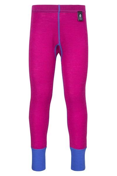 Merino Kids Base Layer Thermal Pants - Pink