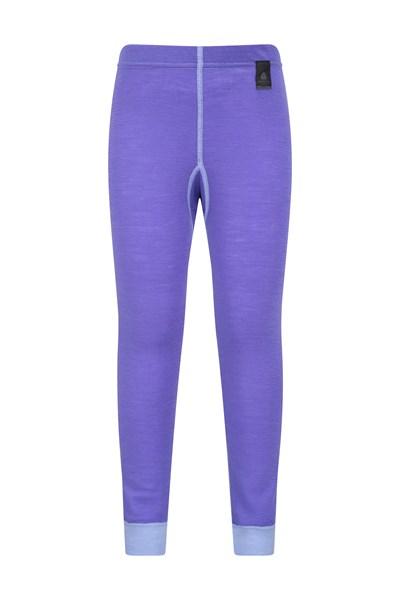 Merino Kids Base Layer Thermal Pants - Purple