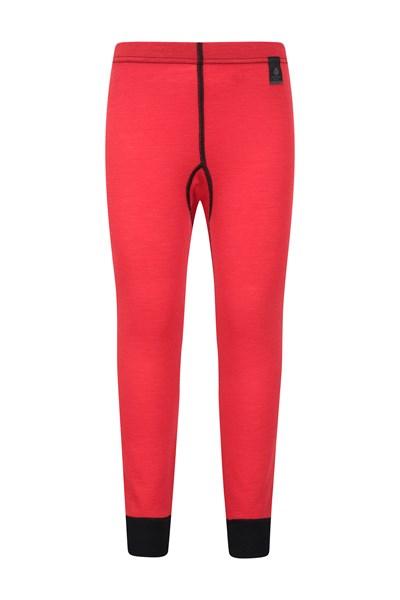 Merino Kids Base Layer Thermal Pants - Red