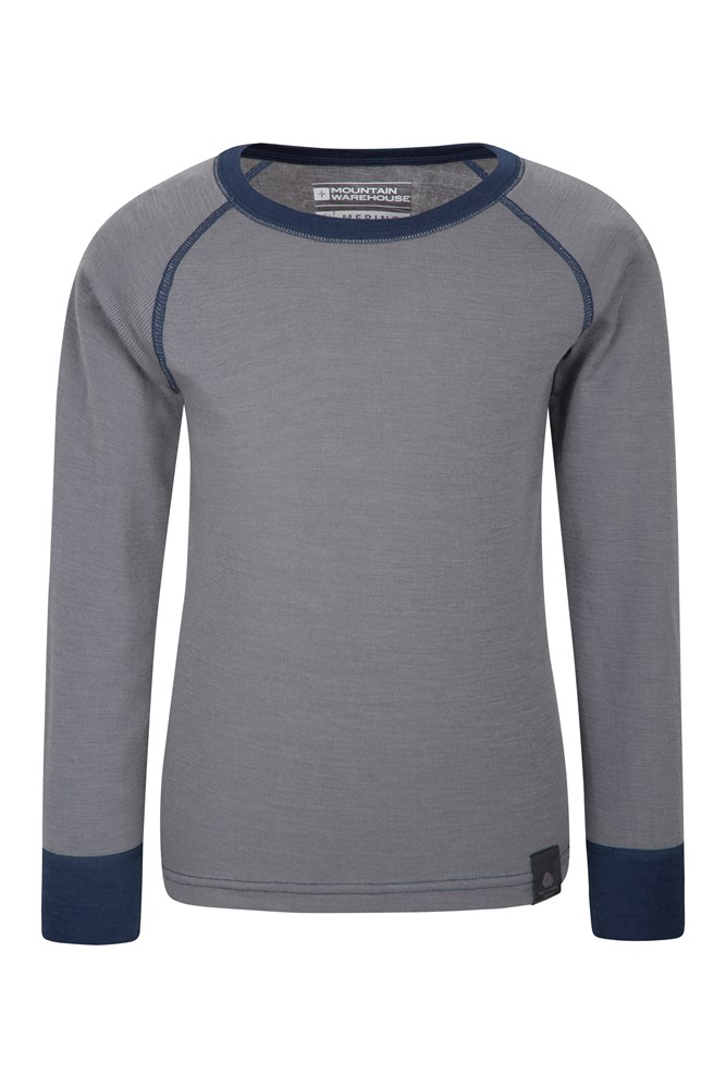 Merino Kids Round Neck Base Layer Top - Grey