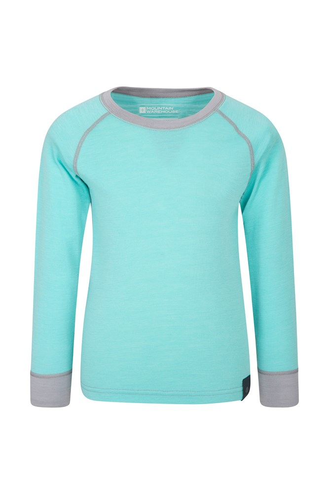 Merino Kids Round Neck Base Layer Top - Green