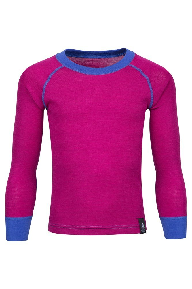 Merino Kids Round Neck Base Layer Top - Pink