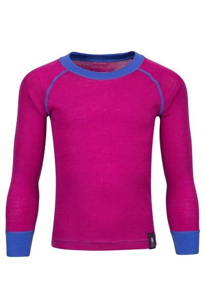 Merino Kids Round Neck Base Layer Top - Pink