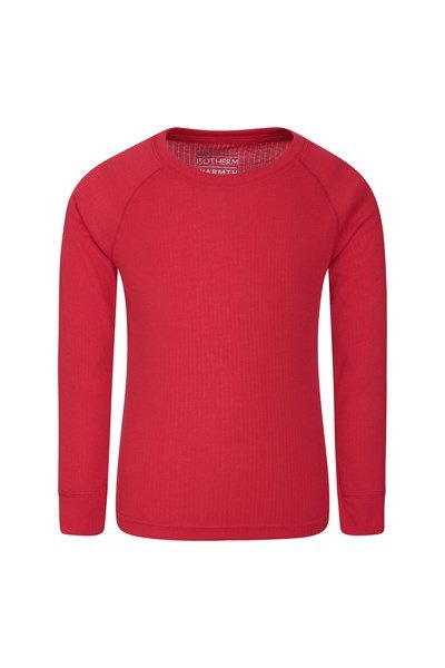 Talus Kids Round Neck Base Layer Top - Red
