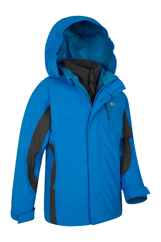 Taped Seams Kids Coat Mountain Warehouse Cannonball Kids 3 in 1 Waterproof Jacket Detachable Hood Kids Coat for Winter Walking Blue 9-10 Years Breathable Triclimate Rain Jacket