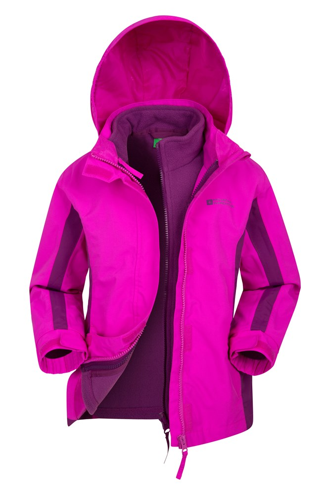 Lightning 3 in 1 Kids Waterproof Jacket - Pink