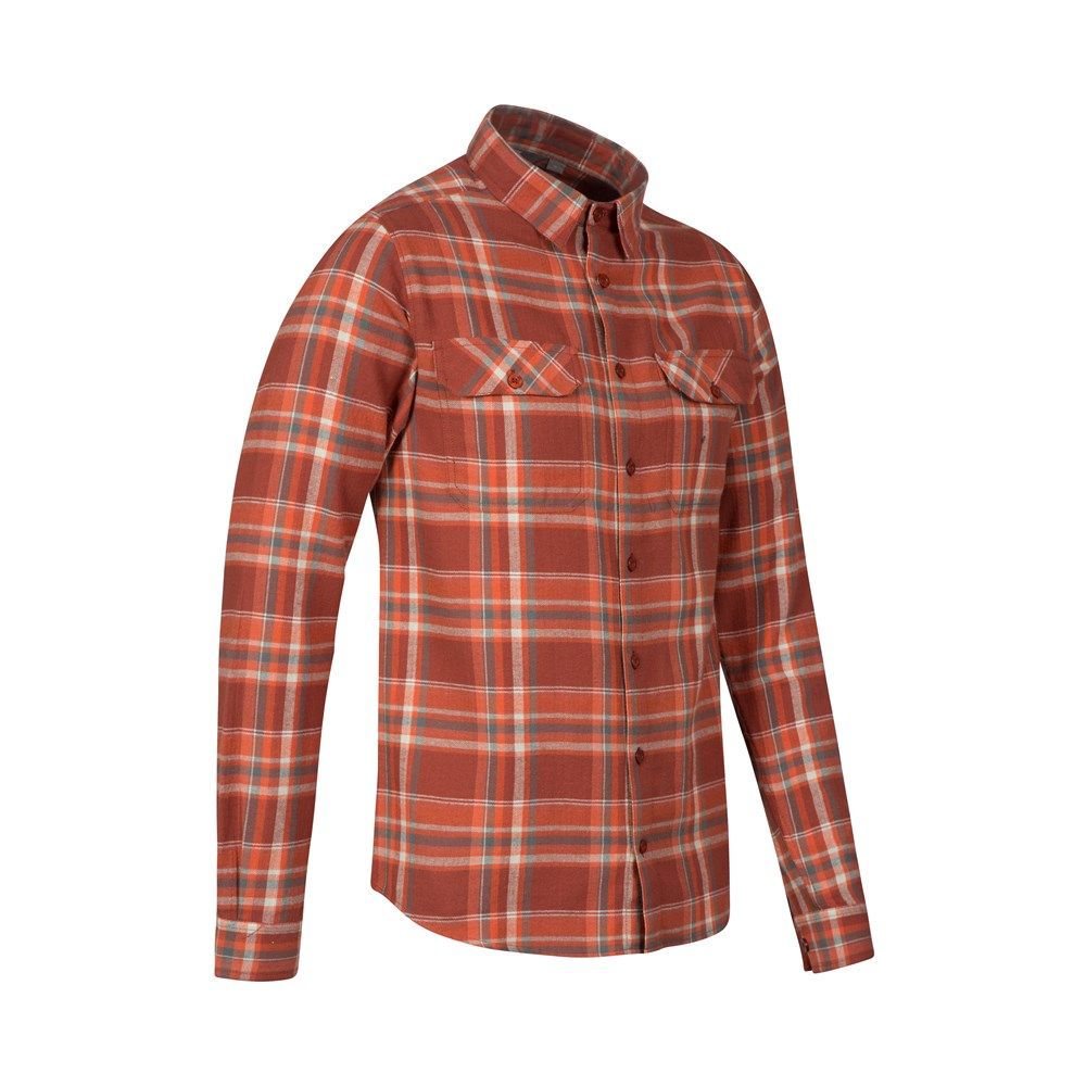 Mountain warehouse trace mens flannel long sleeve shirt ebay for Mens long sleeve flannel shirts