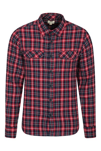 Trace Mens Flannel Long Sleeve Shirt - Red