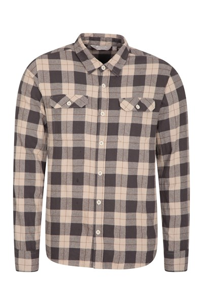 Trace Mens Flannel Long Sleeve Shirt - Beige