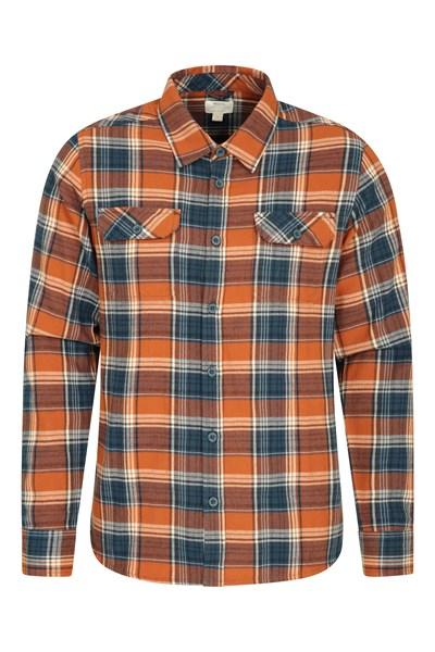 Trace Mens Flannel Long Sleeve Shirt - Orange