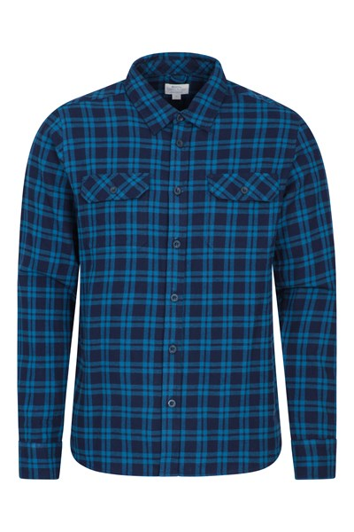 Trace Mens Flannel Long Sleeve Shirt - Blue