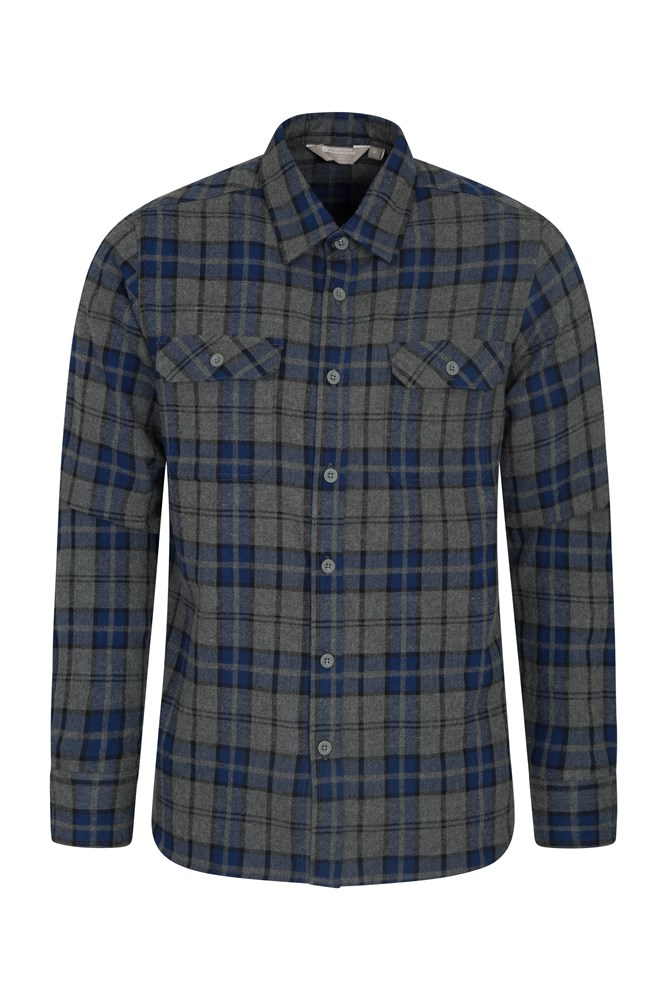 Trace Mens Flannel Long Sleeve Shirt - Dark Blue