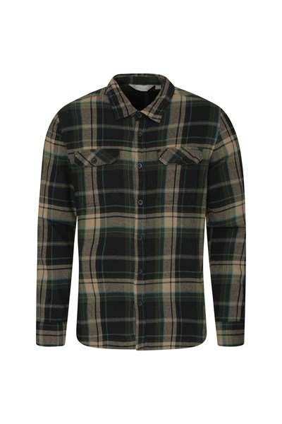 Trace Mens Flannel Long Sleeve Shirt - Green