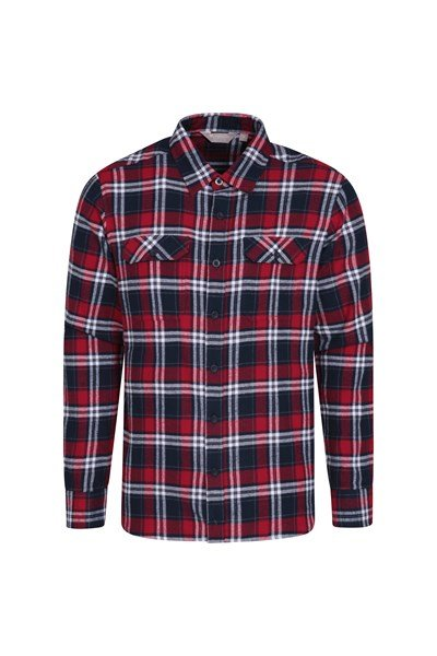 Trace Mens Flannel Long Sleeve Shirt - Dark Red