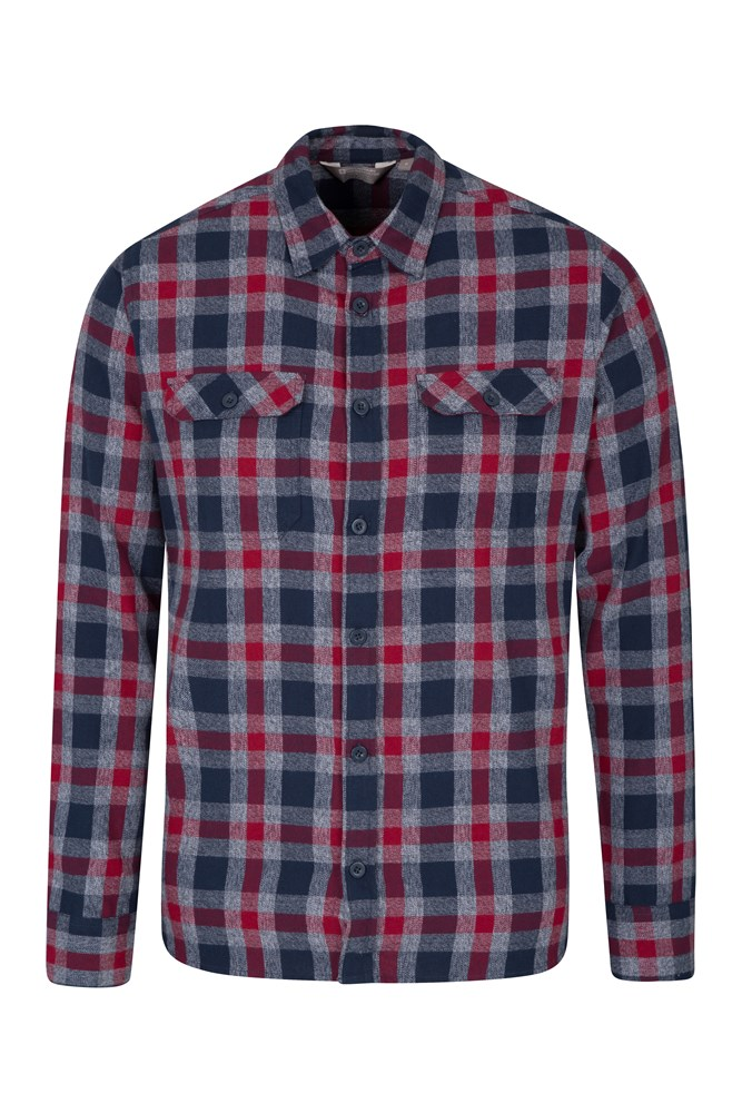 Trace Mens Flannel Long Sleeve Shirt - Grey