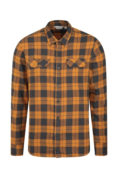 Trace Mens Flannel Long Sleeve Shirt - Orange
