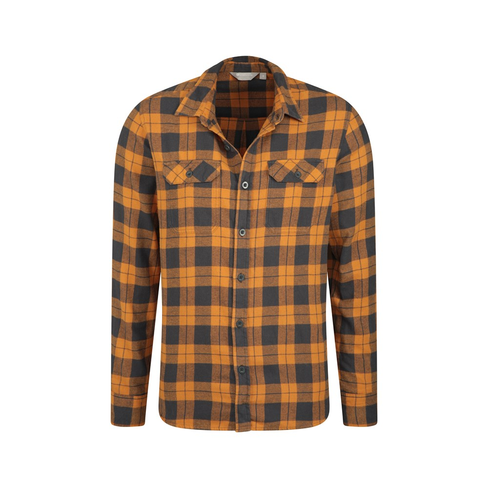 Mountain Warehouse Mens Flannel Long Sleeve Shirt 100/% Cotton Breathable
