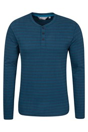 Henley Mens Stripe Long Sleeve Top