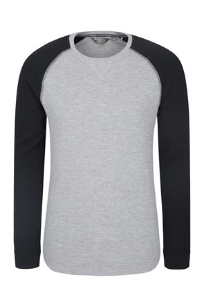 Waffle Long Sleeve Round Neck Mens T-Shirt
