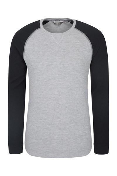 Waffle Long Sleeve Round Neck Mens T-Shirt - Grey