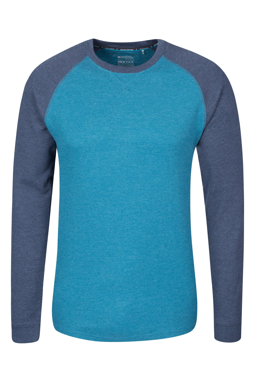 Waffle Long Sleeve Round Neck Mens T-Shirt - Dark Grey
