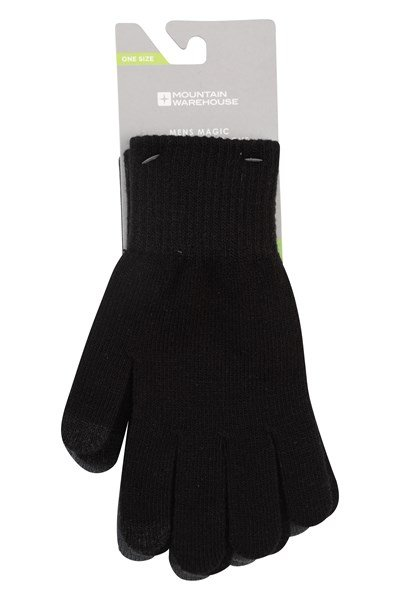 Magic Touchscreen Mens Gloves - 2Pk - Black