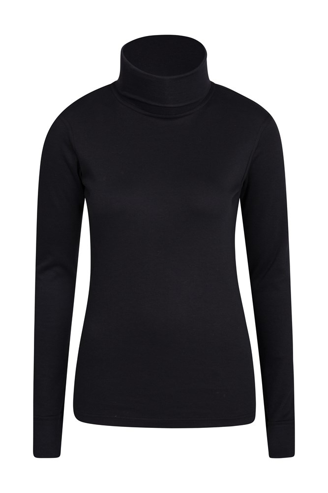 Meribel Womens Cotton Roll Neck Top - Black