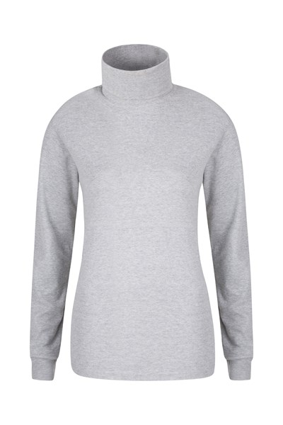 Meribel Womens Cotton Roll Neck Top - Grey