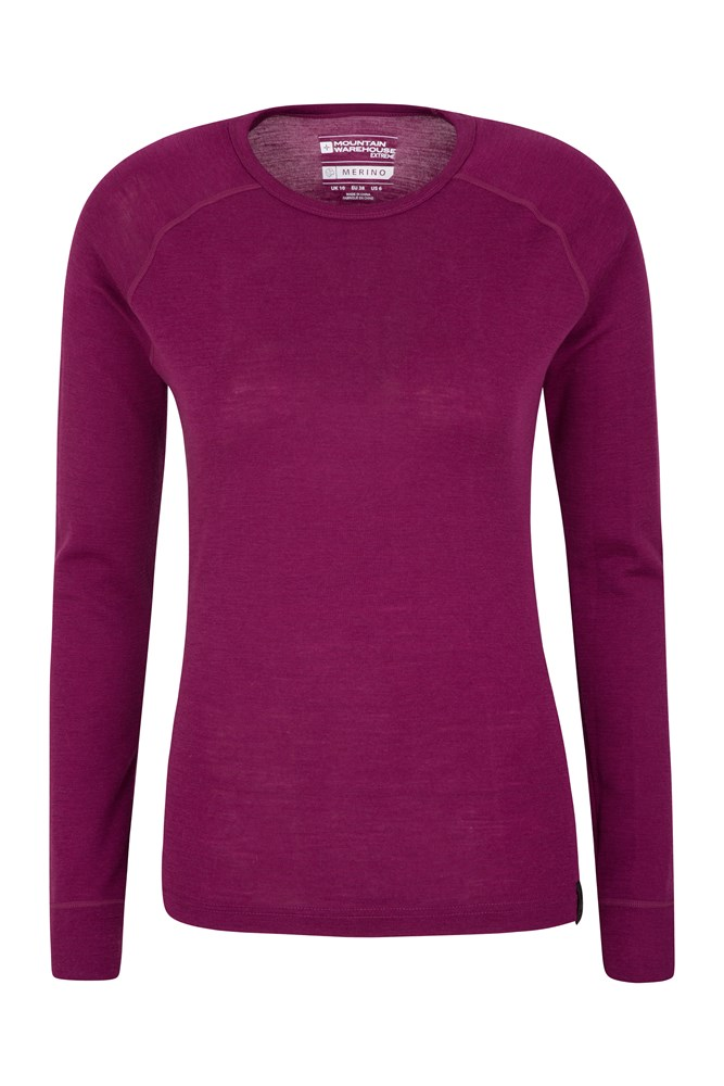 Merino Womens Round Neck Thermal Top - Pink