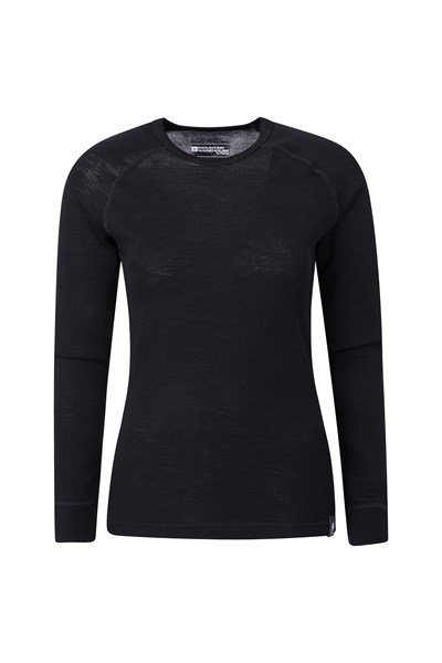 Merino Womens Round Neck Thermal Top - Black