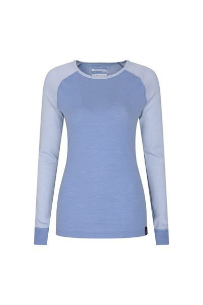 Merino Womens Round Neck Thermal Top - Blue