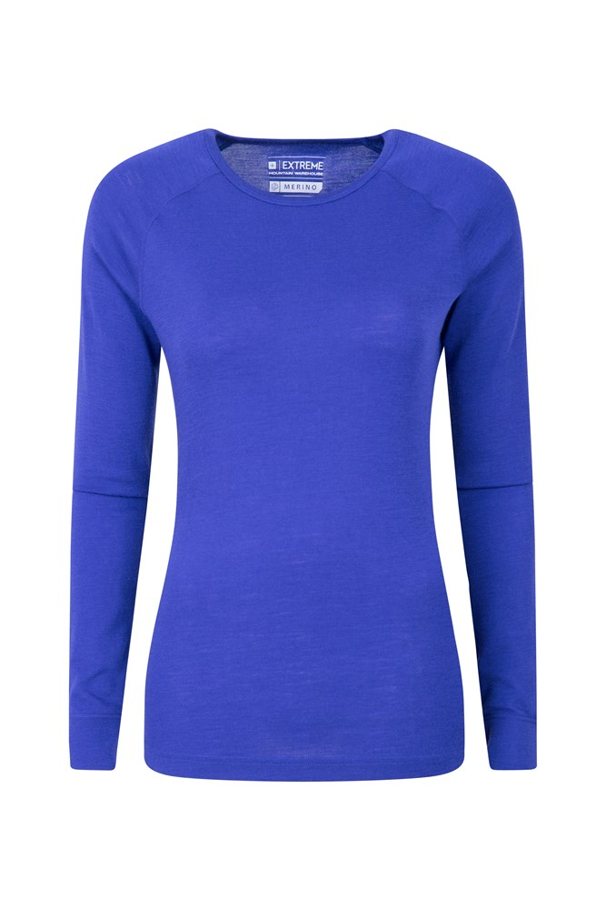 Merino Womens Round Neck Thermal Top - Purple