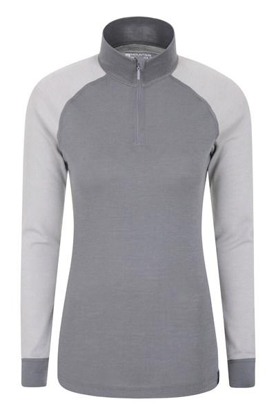 Merino Womens Long Sleeved Zip Neck Top - Grey