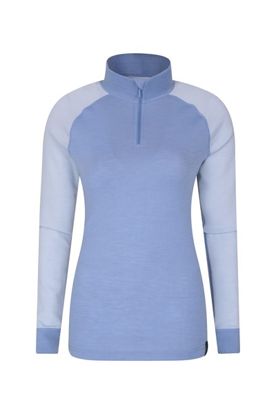 Merino Womens Long Sleeved Zip Neck Top - Blue