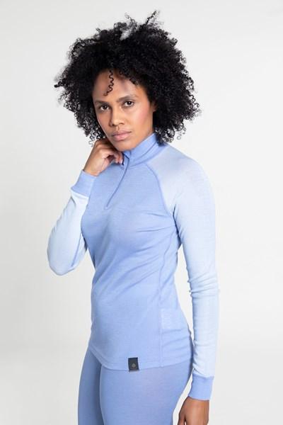 Merino Womens Long Sleeved Zip Neck Top - Blue