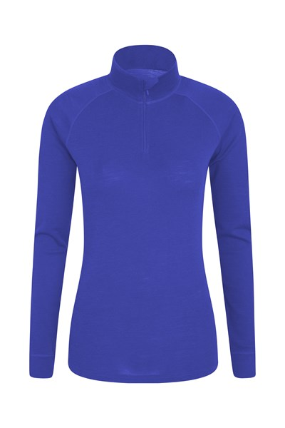 Merino Womens Long Sleeved Zip Neck Top - Purple