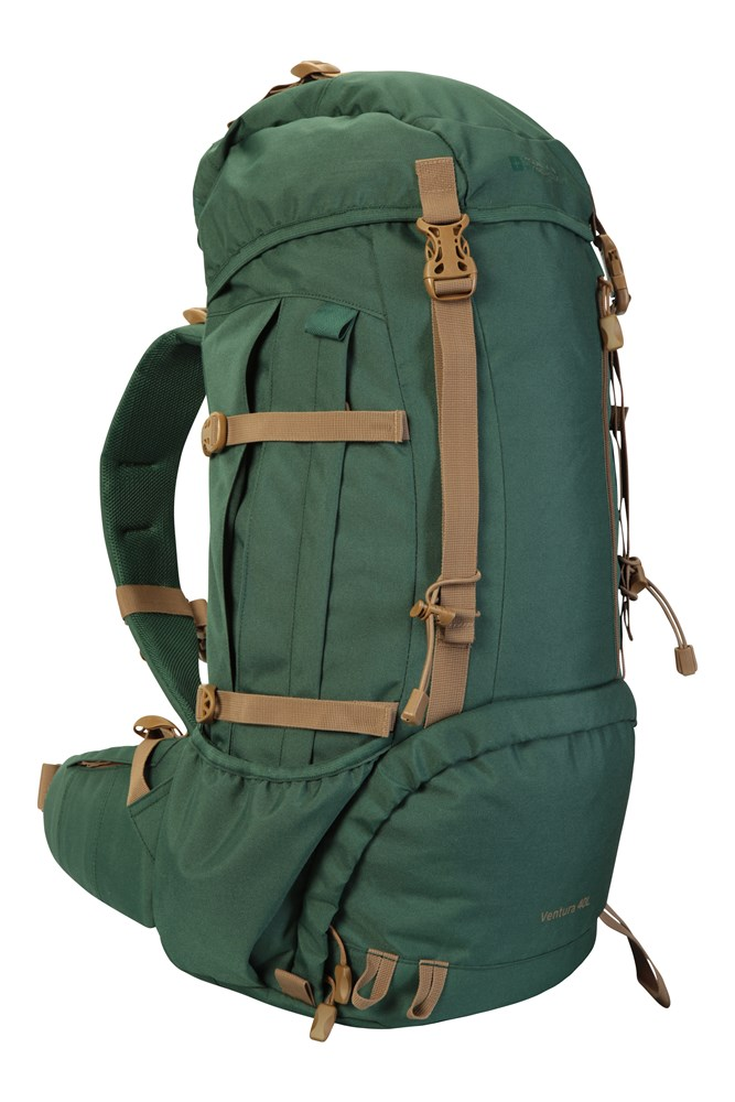Hydration Compatible Travel Bag Durable Summer Backpack Airflow Back Mountain Warehouse Highland 40L Rucksack Rain Cover Compression Straps For Festivals Camping Dark Green Womens Fit