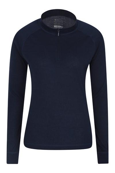 Talus Womens Long Sleeved Zip Neck Top - Navy