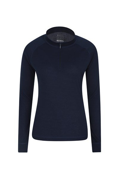 Talus Womens Long Sleeved Zip Neck Top - Navy