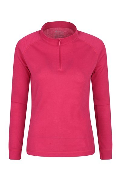 Talus Womens Long Sleeved Zip Neck Top - Pink