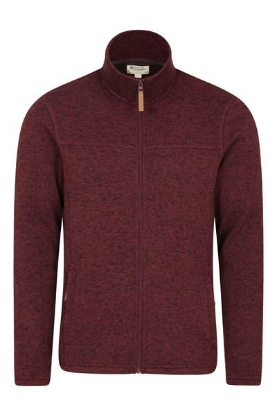 Idris Mens Full Zip Fleece - Dark Red